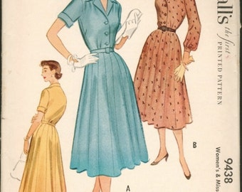 Classic Vintage 1950s McCall's 9438 Shirtwaist Dress with 16 Gore Skirt Sewing Pattern B34