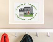 "Custom House Portrait 8x10"". Custom House Drawing. Original Home Illustration. Housewarming gift."