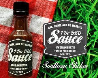 I Do BBQ Custom Barbecue Sauce Favors Personalized BBQ Labels & Empty 50 mL Bottles Outdoor Wedding Favors Engagement Party Favors SS-1043