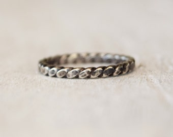 Sterling Silver Hammered Twist Ring - Rustic - Blackened Ring - Modern Ring  - Gift For Her - Wedding - Bridesmaid