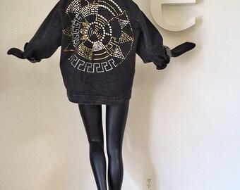 Vintage 80s Black Denim Punk New Wave Jacket Studded Brass & Silver Studs Southwest Southwestern Indian Aztec Sun Calendar Design Size XL