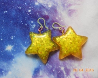 Kawaii Sparkly Star Earrings, Pastel Goth, Fairy Kei, Harajuku
