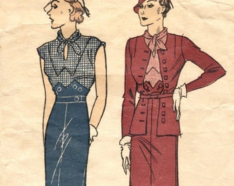 Designer 1930s dress & jacket pattern -- Pictorial Review 6181