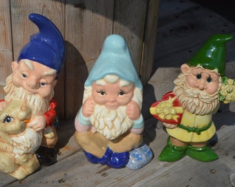 Ceramic Garden Gnomes/ Hand Painted Gnomes