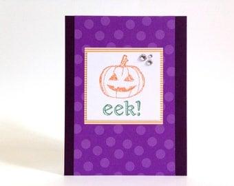 Pumpkin Halloween Card - Eek Halloween Card - Happy Halloween Card - Polka Dot Halloween Card - Funny Halloween Card - Cute Kids Halloween