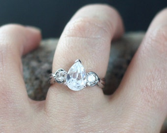 White Sapphire Engagement Ring 3 Gem Stone 1.75ct 9x6mm Pear Round Custom Size White-Yellow-Rose Gold-10k-14k-18k-Platinum
