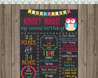 Owl Birthday Chalkboard Sign - First Birthday Party Chalkboard Sign - Printable 8x10, 11x14, or 16x20 sign- Photo Prop