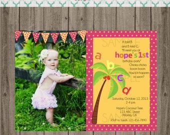 Chicka Chicka Boom Boom Birthday Invitations - Chicka Chicka Boom Boom Photo Invitation - Digital Image