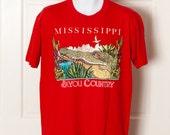 Vintage MISSISSIPPI BAYOU COUNTRY Tshirt - alligator - red - Large