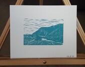 Big Sur Linocut Print Number 2 of 2