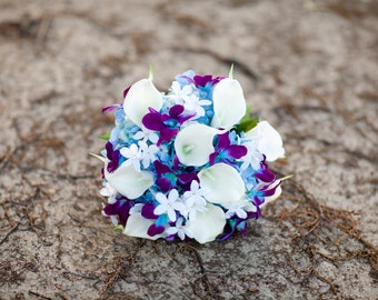 Purple blue galaxy orchid and calla lily bridal bouquet, Stephanotis, turquoise,  purple calla lily bouquet with hydrangeas