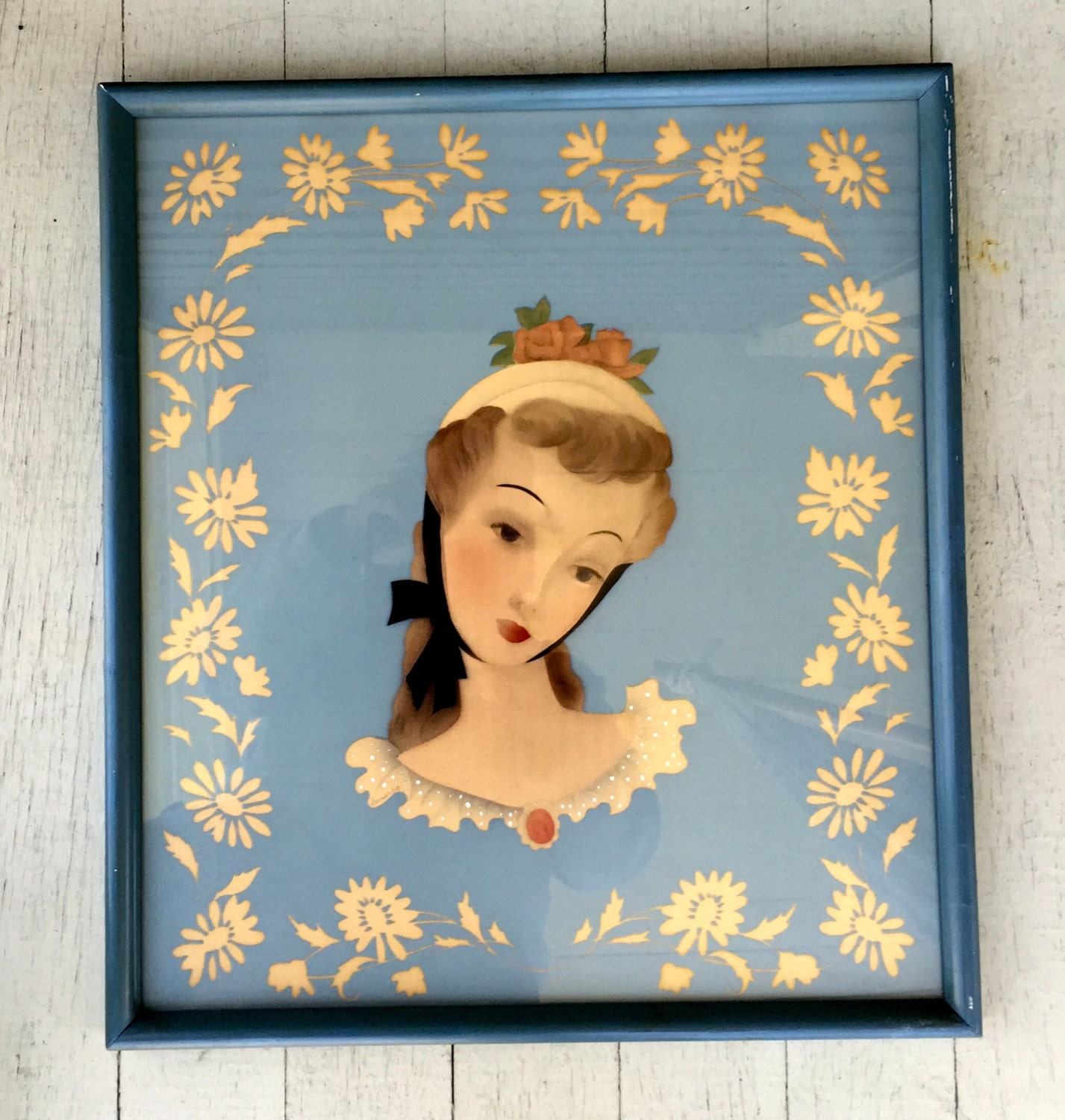 Blue Framed Picture Of Lady 1945 Bernard Picture Co Airbrush