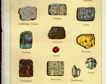 Vintage 1902 Minerals Print Antique Gems Precious Stones 17 gemstones print, bookplate art print, minerals wall print wall art