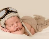 Crochet Pilot Hat, Newborn Aviator Hat, Photo Prop, Baby Hat, Boy Hat, Boy Beanie, Newborn Hat