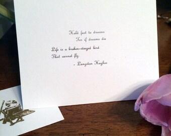 Langston Hughes Dreams Poem - Letterpress Original Hand Pulled Print