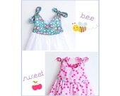 BEE SWEET Baby Girl Dress sewing pattern Pdf, Overall Knotted Dress, toddler newborn 3 6 9 12 18 months 1, 2 years Instant Download