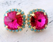Pink turquoise crystal stud earrings, Fuchsia turquoise studs, Bridesmaids jewelry, Ruby and mint stud earrings, Bridal earrings