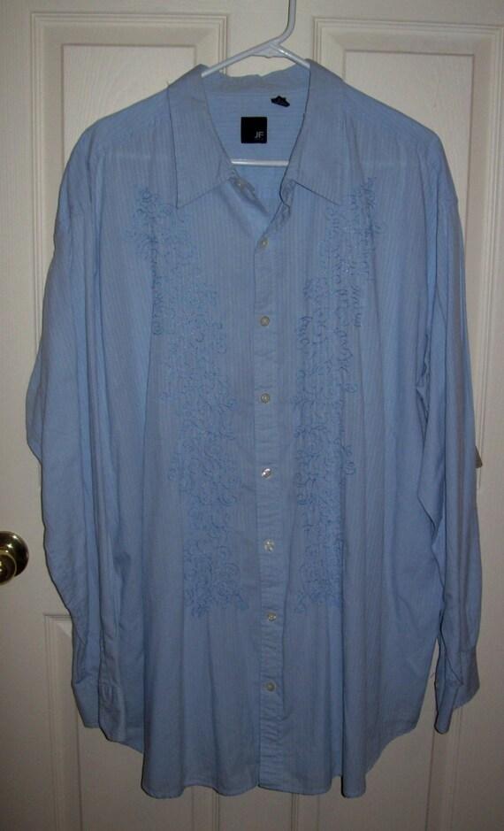 Vintage men 39 s blue shirt w embroidered front by j ferrar for J ferrar military shirt