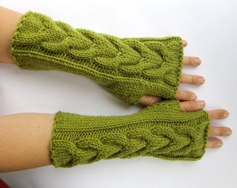 arm warmers wrist warmers hand knit mittens fingerless gloves lime green cabled gift merino wool