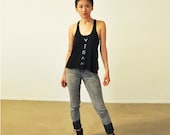 Vegan Tank Top: Black Racer Back ( XS / S / M / L)