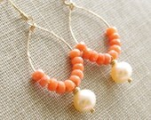 Coral Earrings Peach Coral Jewelry Freshwater Pearl 14kt Gold Filled Beaded Hoop Earrings Peach Bridesmaid Earrings Coral Wedding Jewelry