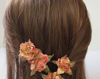 Tangerine Gold Flower Hair Pins. Tangerine Hair clips, Bridesmaids, Whimsical, Fall, Autumn, Weddings. Bridal  Hair Accessories
