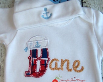 personalized coming home outfit, baby gowns for boys, take me home outfit, nautical boys onepiece, nautical baby bodysuit, Bring home outfit