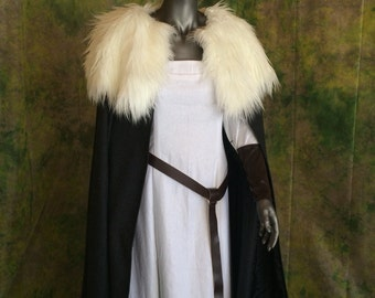 Wool Cloak with Fur Collar--- Your Choice of Coloring--- Viking, Renaissance, Norse, Barbarian, Fur cape, Wool Cape