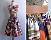 Vintage 60's 'Flora & Fauna' Rainforest Cotton Day Dress XS or S