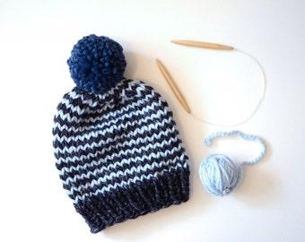 Winter Hat // Hand Knitted Beanie With Pom Pom // Chunky Knit Beanie // Striped Beanie // Winter Hats // Pom Pom Beanie // Women Gift