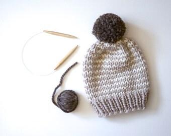 Striped Chunky Beanie // Hand Knitted Beanie With Pom Pom // Chunky Knit Beanie // Striped Beanie // Winter Hat // Pom Pom Beanie // Beanie