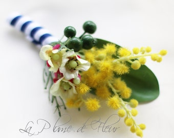 Geraldton - Men's Buttonhole/Boutonniere - Golden flowering wattle, Geraldton wax and berries.