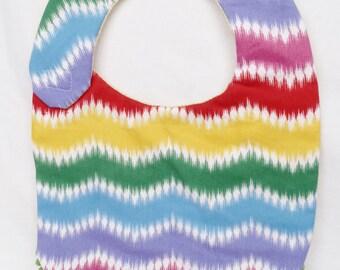 Organic Reversible Multicolour Zig Zag Bib for Baby