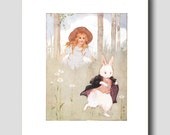 Alice in Wonderland Wall Art -- White Rabbit Print by Margaret Tarrant -- Vintage Home Office Decor No. 10