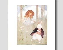 Alice in Wonderland Wall Art -- White Rabbit Print by Margaret Tarrant -- Vintage Home Office Decor No. 10