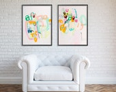 Reserved ABSTRACT painting 40X28 on paper. Made to order. Mint green, pink, yellow, aqua, large wall art, Modern painting, acrylic