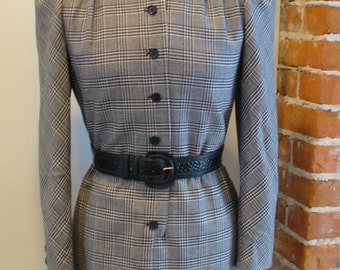 Hardy Amies Savile Row  Glen Plaid Dress