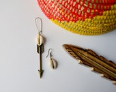 Cowrie Warrior Arrow One Drop Earrings
