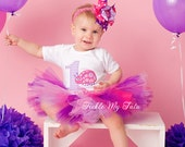 Pink and Purple Ladybug Birthday Tutu Outfit (Lilac Gingham Number)-Ladybug Birthday Party-Ladybug Tutu Set *Bow NOT Included*