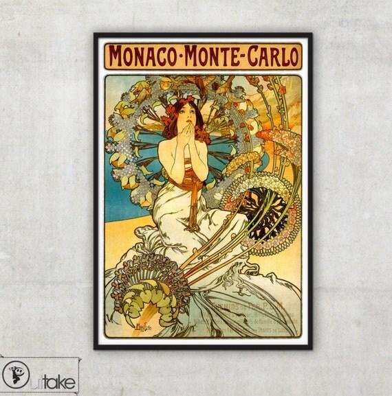 Poster for 'Monaco - Monte Carlo' - Art Nouveau advertisement  - by Alphonse Mucha,P021