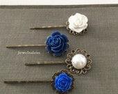 Navy Blue Hair Pins Set Bridal Bobby Pins White Dark Blue Wedding Flower Girl Bridesmaid Gift Woodland Rustic Garden Modern Elegant Boho