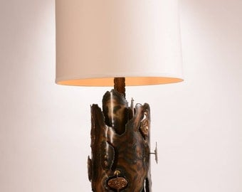 Tom Greene Attributed Brutalist Brass and Bronze Table Lamp