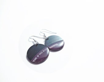 vinyl disc earrings purple earrings music earrings eco friendly earrings recycled jewelry unique jewelry funky jewelry gift idea for her