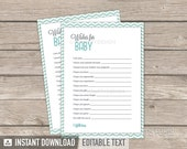 Wishes for Baby Card - Owl Boy Baby Shower - Mint Teal Chevron - INSTANT DOWNLOAD - Printable PDF with Editable Text