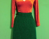 Vintage 80s Handmade Turf Grass Look Knee Length Skirt Womens Secretary Clothing Indie Kitsch Retro Hipster Green Summer Rare