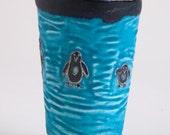 Penguin Parade Mug from Clay Creature Comforts