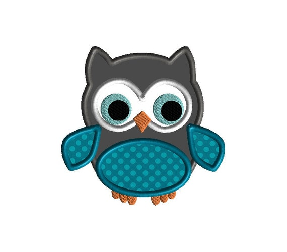 Little Owl Applique Machine Embroidery DesignINSTANT DOWNLOAD