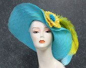 NOW 20-30% OFF! Turquoise & Yellow Kentucky Derby Hat, Garden Party Hat, Tea Party Hat, Church Hat, special occassion hat, OOAK 103AP
