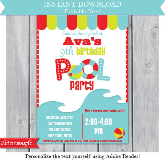 Pool Party Birthday Party Invitation Editable Text By