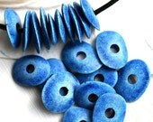 Ombre Blue beads, Cornflake beads, Greek Ceramic beads - Denim Blue - donut, spacer, for leather cord, washer, 16mm - 10pc - 2305